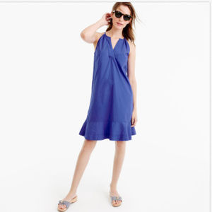 J. CREW BLUE FLUTTER-HEM COTTON SUN DRESS